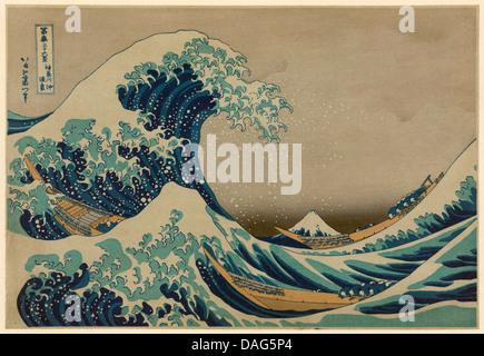 The Great Wave off Kanagawa, Hokusai Katsushika 1760-1849. Antique print - Stock Photo