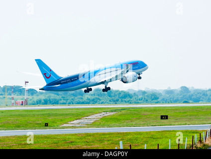 Thomson Airways Boeing 787 Dreamliner Airliner G-TUIC Taking Off at Manchester International Airport England United - Stock Photo
