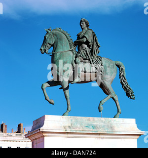 Equestrian statue of Louis XIV, Place Bellecour in Lyon, France - Stock Photo