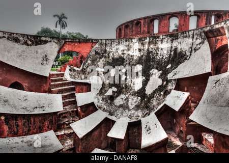 Jantar Mantar - ancient observatory with architectural astronomy instruments in Delhi, India - Stock Photo