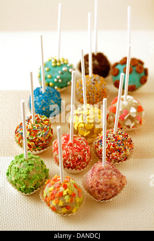 White chocolate cake pops. Recipe available. - Stock Photo