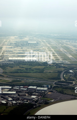Aerial view of London Heathrow Airport - Stock Photo
