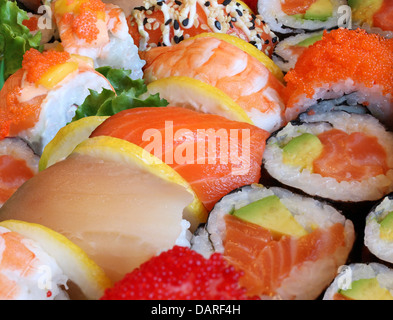 Japanese sushi close up with a variety of delicious prepared fresh raw fish and seafood as salmon shrimp and caviar - Stock Photo