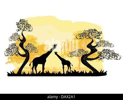 Two giraffes silhouette, with jungle landscape - Stock Photo