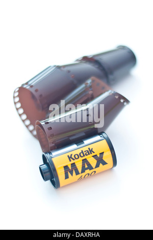 Vintage roll film camera, Kodak Brownie 127, and exposed ...