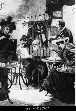 Menzel, Adolph von  8.12.1815 - 9.2.1905, German painter, half length, at 'Cafe Josty', after drawing, by Georg - Stock Photo