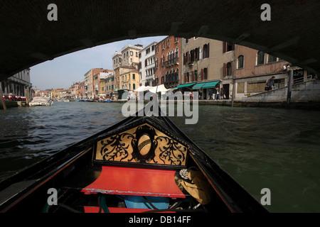 Italy, Veneto, Venice, Canal Grande from gondola - Stock Photo