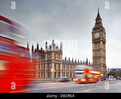 London, Big Ben and the Houses of Parliament from Westminster Bridge. England, United Kingdom. - Stock Photo
