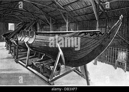 transport transportation navigation Vikings Viking ship found in the Sandefjord ethnological museum Oslo wood engraving - Stock Photo