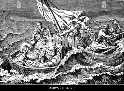religion biblical scene Jesus Christ 'The Storm on the Sea' wood engraving Germany 19th century sea seas thunderstorm - Stock Photo