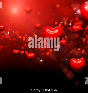 Valentine Hearts Background. Valentines Red Abstract Wallpaper - Stock Photo