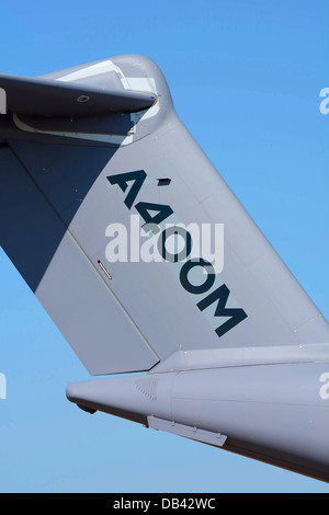 FIN AND TAILPLANE OF AN AIRBUS A400M, CALLED ATLAS BY THE RAF, MILITARY TRANSPORT AIRCRAFT - Stock Photo