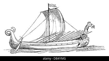 transport / transportation, navigation, Vikings, Viking ship, 9th / 10th century, wood engraving, late 19th century, - Stock Photo