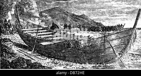 transport transportation navigation Vikings Viking ship 9th 10th century wood engraving late 19th century Viking - Stock Photo