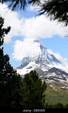 The Matterhorn near Zermatt is one of the most famous mountains of Switzerland - Stock Photo