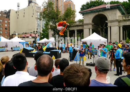 New York, USA. 28th July 2013. Scene  from Pogopalooza 10' - the 10th Annual World Championships of Xpogo (extreme - Stock Photo