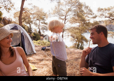 Croatia, Dalmatia, Family with one child on camping site - Stock Photo