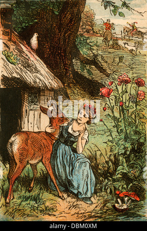 Little Brother and Little Sister, from a Berlin edition of Grimms' Fairy Tales, 1865. - Stock Photo