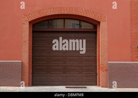 brown garage door - Stock Photo