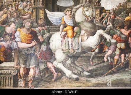 Alexander taming Bucephalus, Sodoma, fresco, Villa Farnesina, Rome, Italy - Stock Photo