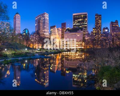 Skyline along Central Park South in New York City, USA. - Stock Photo