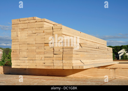 Close-up of Stacked Lumber / wood for construction, background - Stock Photo