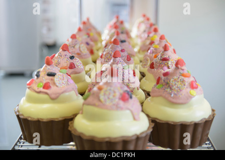 Close up of giant chocolate cupcakes in sweet factory - Stock Photo