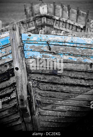 An old abandoned boat at Blakeney Point - Stock Photo