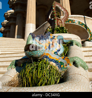 The Gaudi salamander statue in the Parc Guell in Barcelona, Spain - Stock Photo