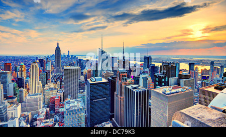 New York City, USA midtown skyline at dusk. - Stock Photo