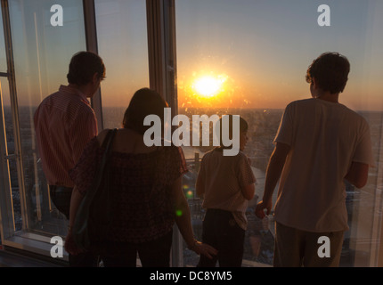View from Top of Shard Skyscraper at Sunset - Southwark - London - Stock Photo