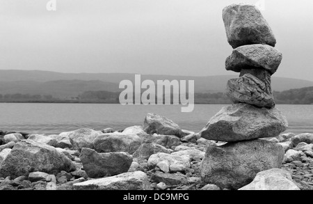 Pile of limestone stones at Malham Tarn North Yorkshire UK - Stockfoto