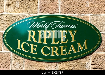 Sign for World Famous Ripley Ice Cream outside thec Ripley Store, Ripley, North Yorkshire, England, UK - Stock Photo