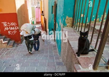 Black cat watching construction workers walk by in alley; San Miguel de Allende, Guanajuato, Mexico - Stock Photo