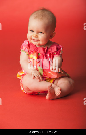Baby Girl Laughing; Nashville, Tennessee, Usa - Stock Photo