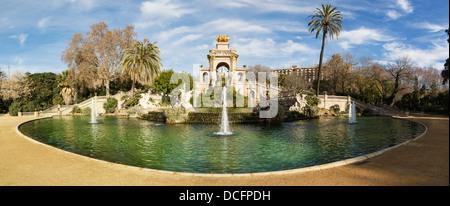 Fountain in Parc de la Ciutadella in Barcelona, panoramic - Stock Photo