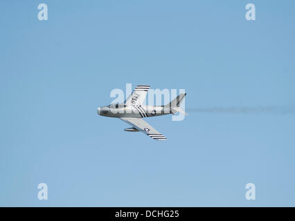 Eastbourne, Sussex, UK. 18th Aug, 2013 US Air Force F-86 Sabre, developed in 1947, makes an impressive display © - Stock Photo