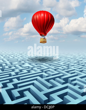 Rise above the challenges of business and life concept with a red hot air balloon with a businessman inside flying - Stock Photo
