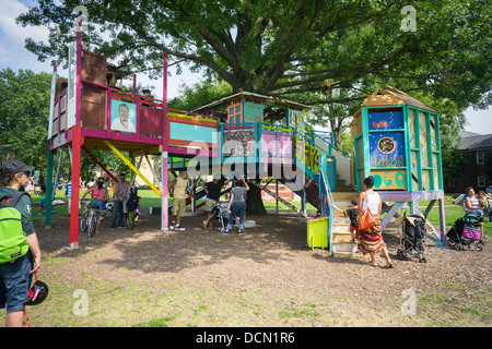 Treehouse art exhibit on Governor's Island in New York - Stock Photo