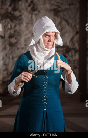 Dangerous Nun with Knife - Stock Photo