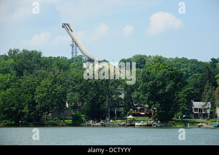 Norge Ski Jump in Fox River Grove, Illinois, USA. - Stock Photo
