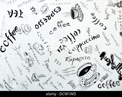 Concept of coffee: Sketches in ink on white paper. - Stock Photo