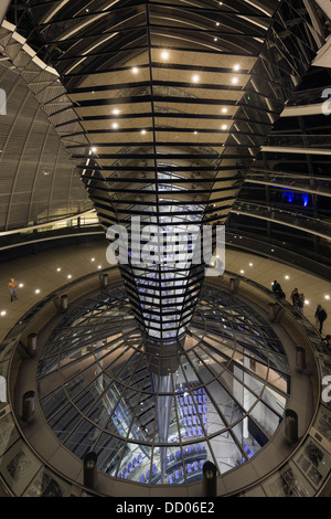 interior of the Reichstag dome at night, Berlin, Germany - Stock Photo