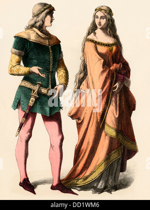 German knight and a lady, 1300s. - Stock Photo
