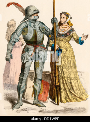 German knight in armor and a lady, mid-1400s. - Stock Photo