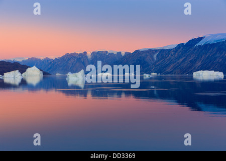 Sunset in the Røde Fjord, Scoresby sund, Greenland - Stock Photo