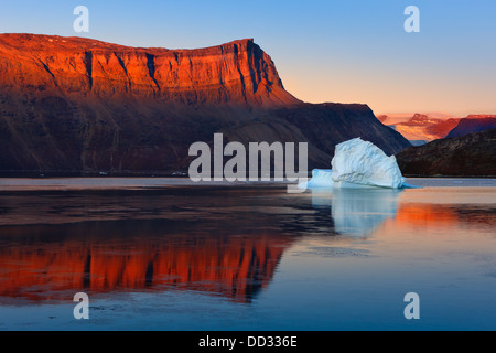 Sunrise in the Røde Fjord, Scoresby sund, Greenland - Stock Photo