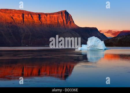 Sunrise in the Røde Fjord, Scoresby sund, Greenland - Stock Photo