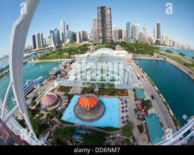 A stunning, spectacular, fisheye view of the Chicago skyline in the morning from the Navy Pier Ferris wheel. - Stock Photo