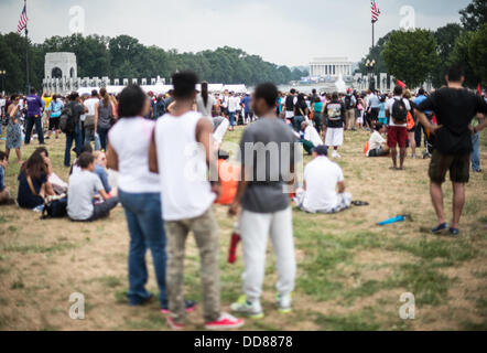 Large crowds gathered on Washington DC's National Mall at the commemoration of the 50th anniversary of the 1963 - Stock Photo